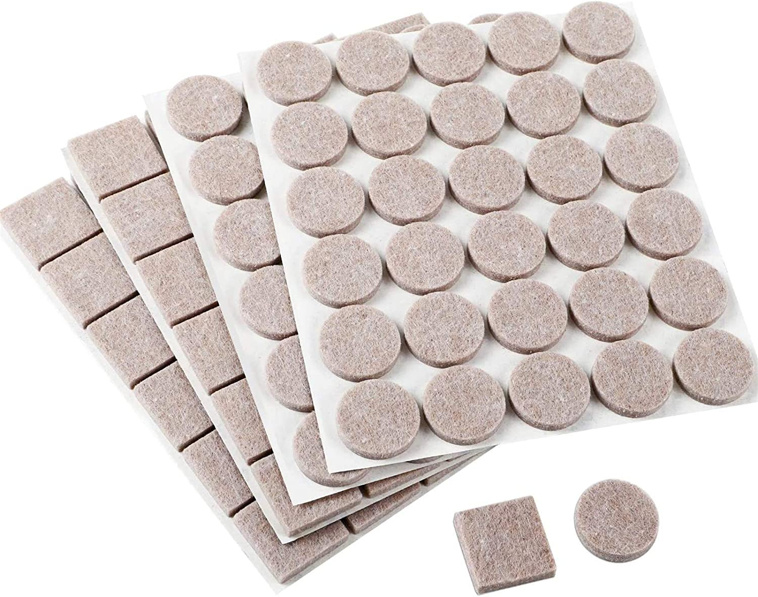 HongWay Heavy Duty 1 Inch Furniture Felt Pads Wood Floor Protectors 5mm Thick 120pcs, Including 60pcs Beige Round and 60pcs Beige Square