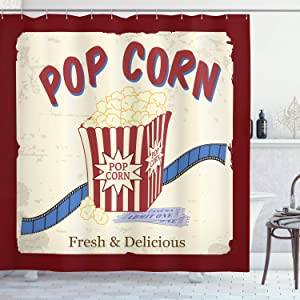 Ambesonne Movie Theater Shower Curtain, Fresh and Delicious Pop Corn Film Tickets and Strip Advertising in 60s Theme, Cloth Fabric Bathroom Decor Set with Hooks, 70