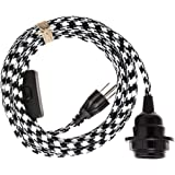 Swag Light - Hanging Pendant Light Cord Kit by Color Cord Company - Choose from 30+ colors - Black & White Houndstooth