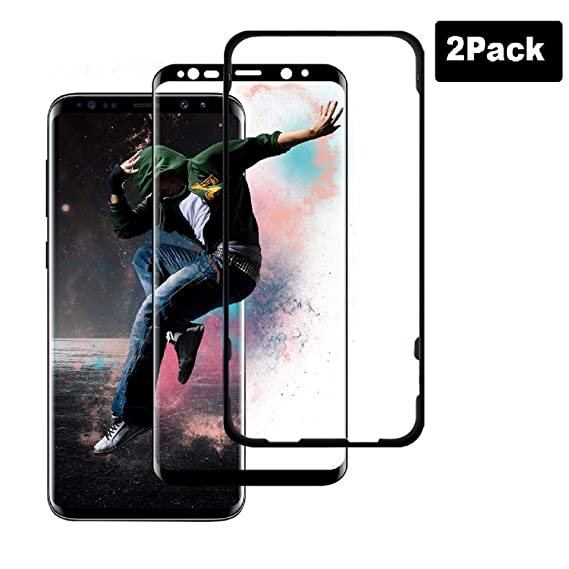 [2 Pack] Galaxy S9 Plus Screen Protector Tempered Glass, [Update Version]  AVIGOR 3D Curved Dot Matrix [Full Screen Coverage] Glass Screen Protector