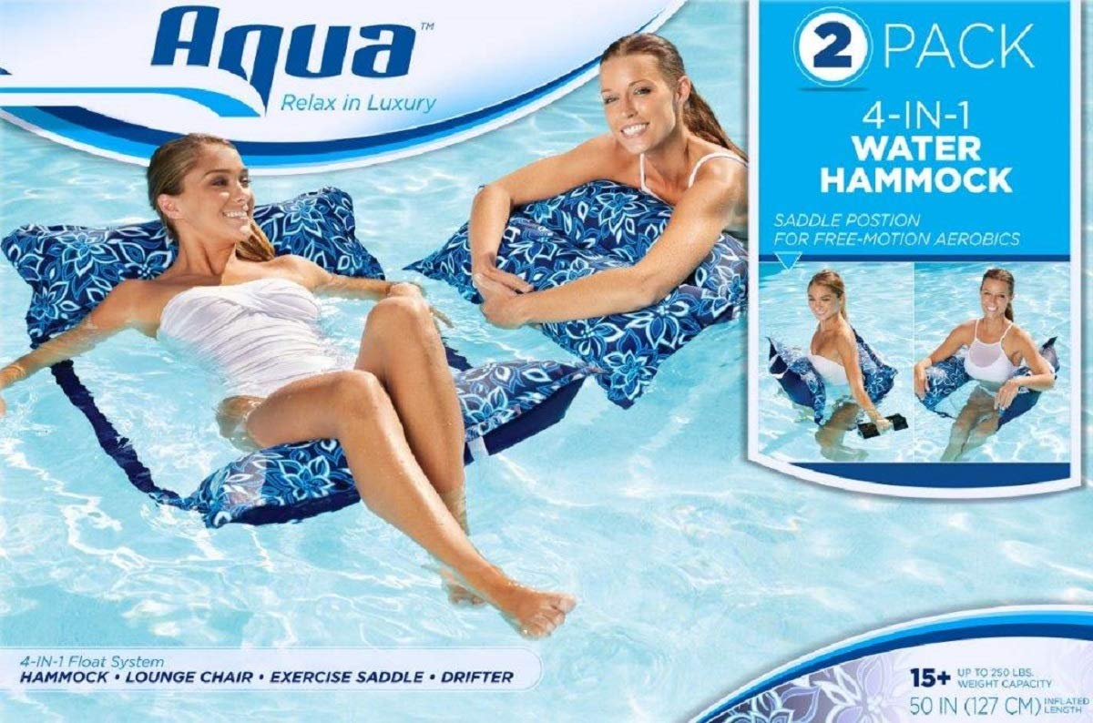 Aqua Deluxe Monterey Hammock, Two-Pack, 4-in1- Multi-Purpose Inflatable Pool Float, Portable, Removable Pillows, Carry Bag, Premium Fabric, Fade, & Stain Resistant, Navy/White Orchid