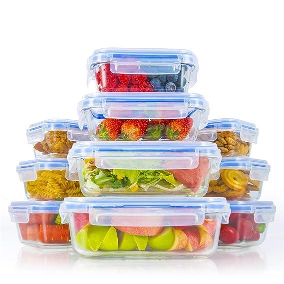 Zestkit Glas Frischhaltedosen Set aus 10er Frischhaltedose Frischhalteboxen Glasbehälter Vorratsdosen mit Deckel, Luftdicht,