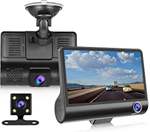 """NOVPEAK Dash Cam 1080P FHD DVR Car Driving Recorder 4"""" LCD Screen 170°Wide Angle, G-Sensor, Parking Monitor, Loop Recording, Motion Detection, Night Vision Rearview Camera"""