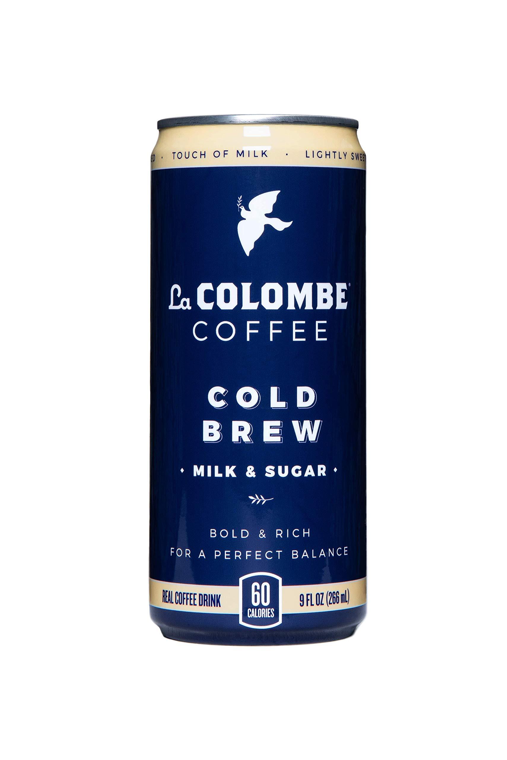 La Colombe Pure Black & White Cold-Pressed Coffee - 9 Fluid Ounce, 16 Count - Touch of Cream and Sugar - Medium Roast, Single-Origin Cold Brew - Grab And Go Coffee