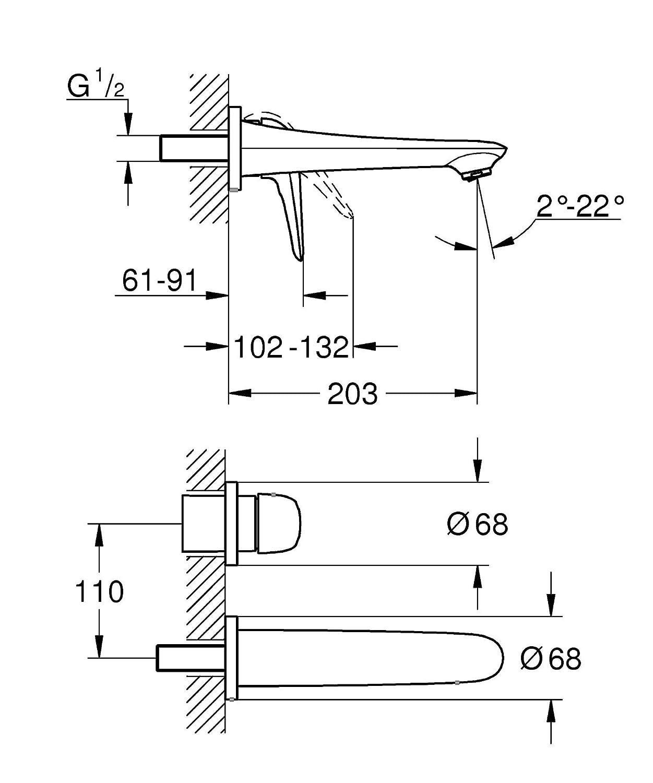 GROHE Eurostyle 2-Loch-Waschtischbatterie Chrom 29097003