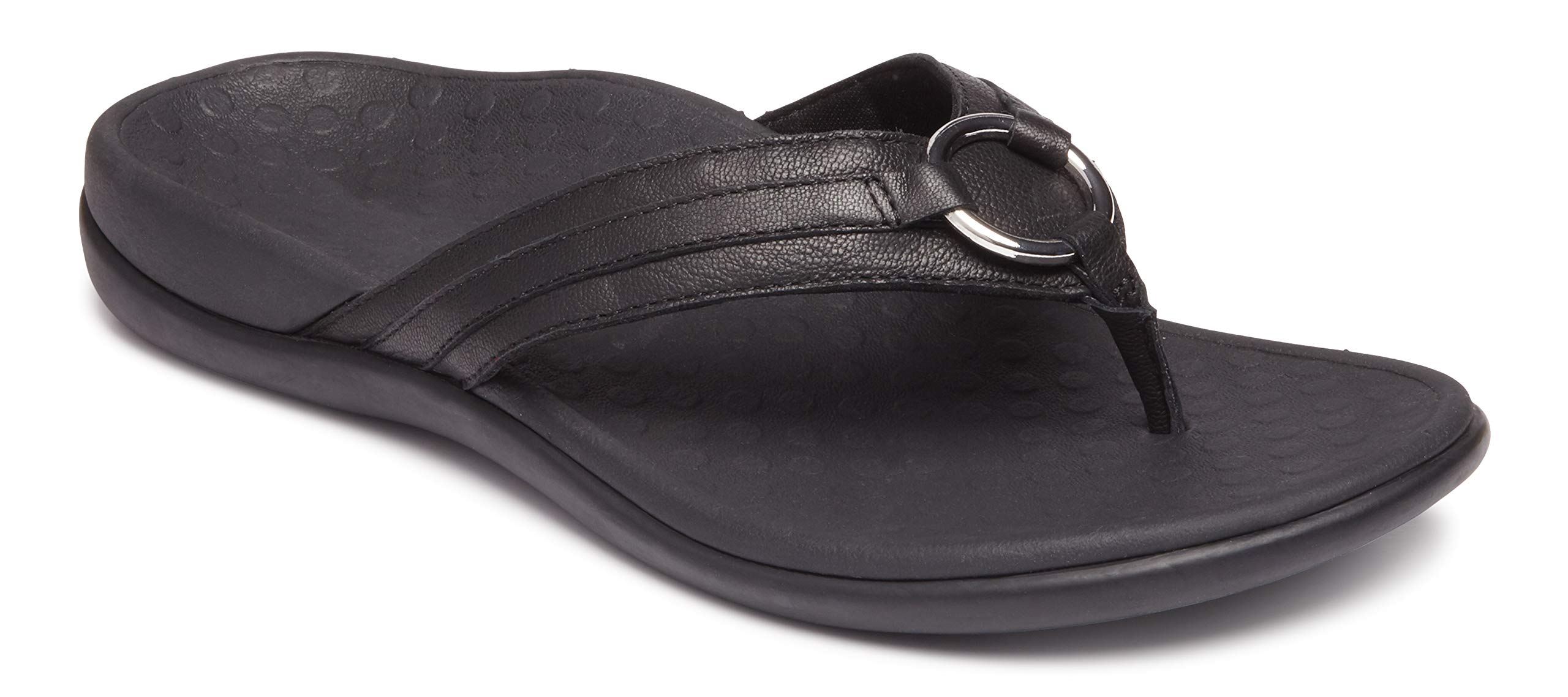 Vionic Women's Tide Aloe Toe-Post Sandal - Ladies Flip- Flop with Concealed Orthotic Arch Support Black Leather 8 M US by Vionic