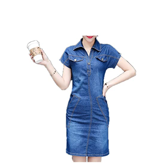 FBIIIOU Jeans Dresses Vintage Slim Office Short Dress Vestidos As Picture S
