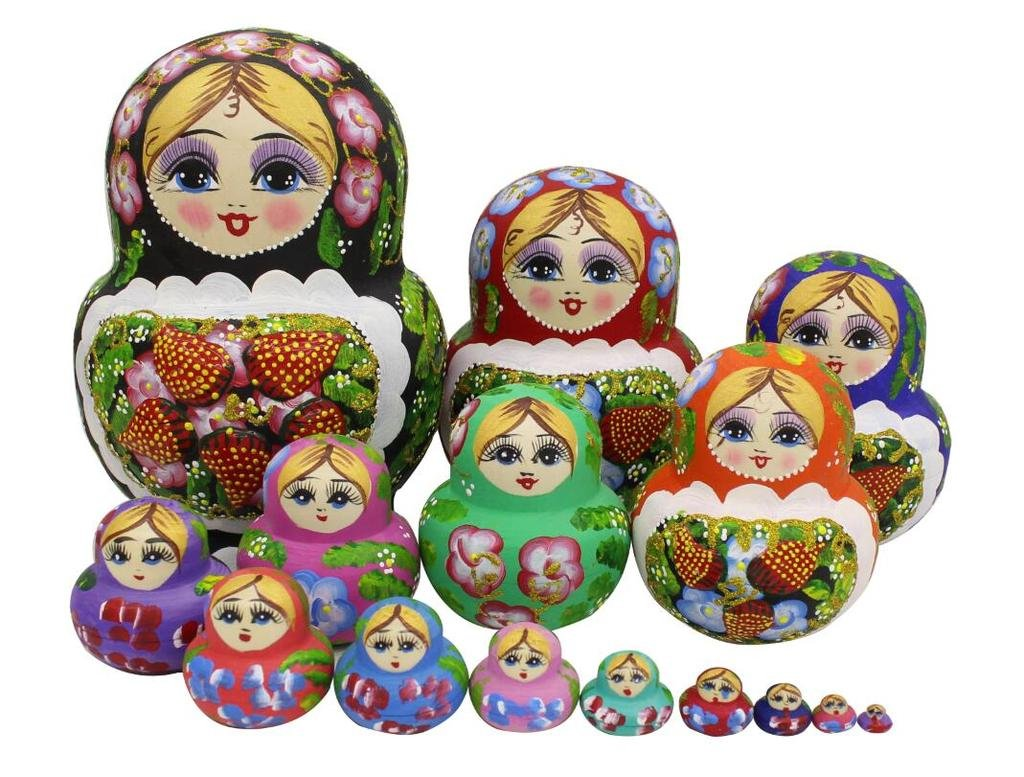Winterworm Set of 15 Big Bulky Strawberry Colorful Basswood Wooden Traditional Russian Nesting Dolls Matryoshka Kids Stacking Toys Christmas Birthday Festival Gifts