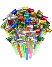 Siumir 100 x Blowouts Noisemakers -- Funny Party Blowouts Blowers for Kids, Assorted Color