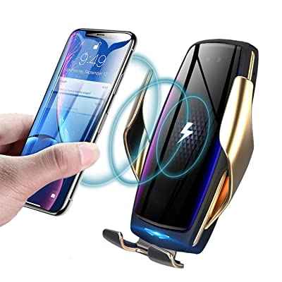 KMI CHOU Wireless Car Charger,Automatic Clamping IR Intelligent Wireless Car Charger - Car Charger Holder 10W Fast Charging for iPhone Xs Max/XR/X/8/8Plus Samsung S10/S9/S8/Note 8(Gold)