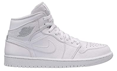 42205ed22ada83 Image Unavailable. Image not available for. Color  Jordan Mid 1 White Pure  Platinum-White ...