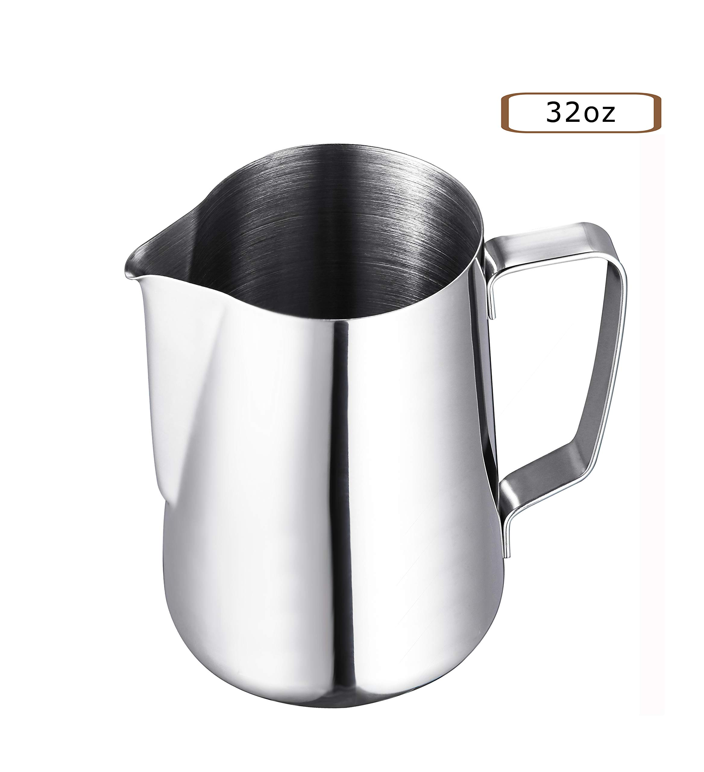 Coffee Tree Stainless Steel Milk Frother Pitcher for Espresso Coffee Machine, Cappuccino Latte Making (32oz)
