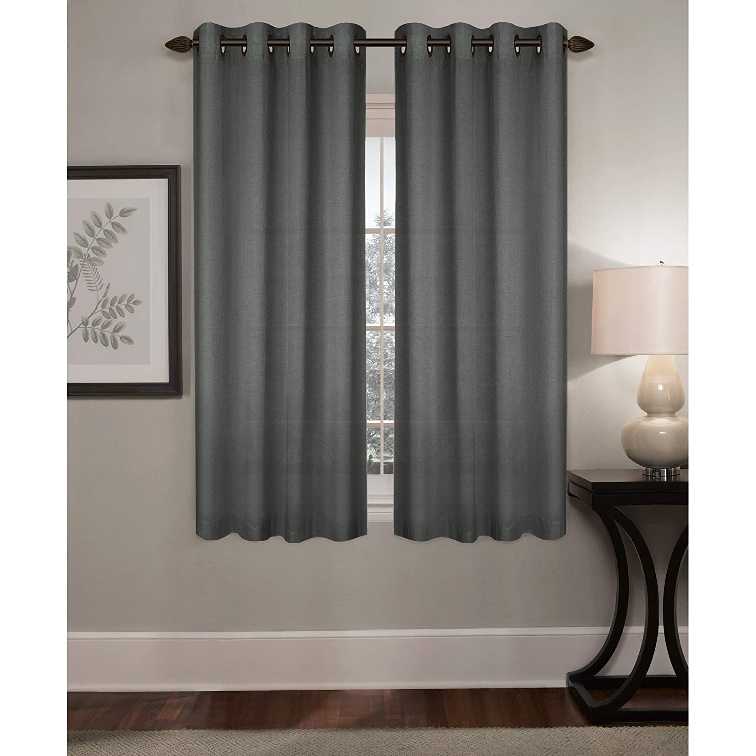 MAYTEX Dakota Window Curtain Charcoal 50x63