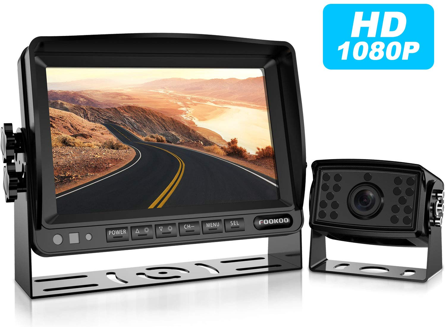 HD Backup Camera System Kit,7/'/'1080P Reversing Monitor+IP69 Waterproof Rear View Camera,Sharp CCD Chip 100/% Not Wash Up,Truck//Semi-Trailer//Box Truck//RV FHD2-Wired FOOKOO