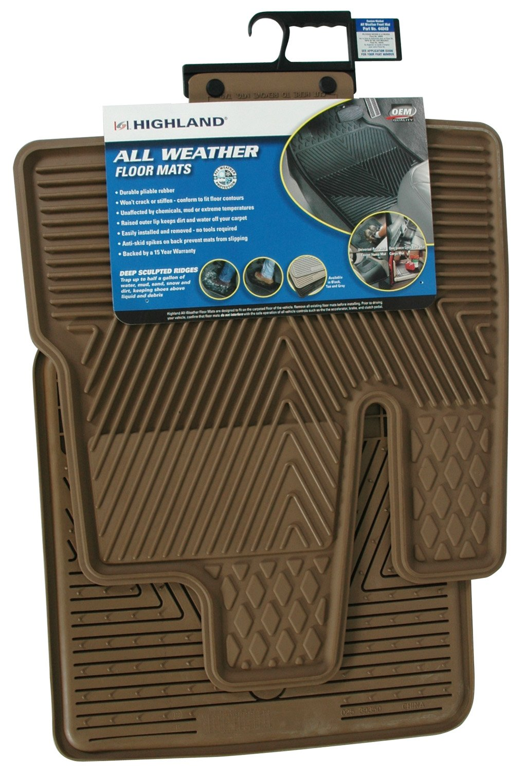 Highland 4604900 All-Weather Black Front Seat Floor Mat Highland Group