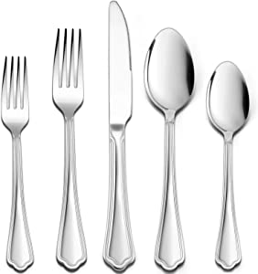 30 Pieces Silverware Set with Scalloped Edges, HaWare Stainless Steel Timeless Classic Flatware Eating Utensils, Elegant Design for Home/Hotel, Mirror Polished & Dishwasher Safe