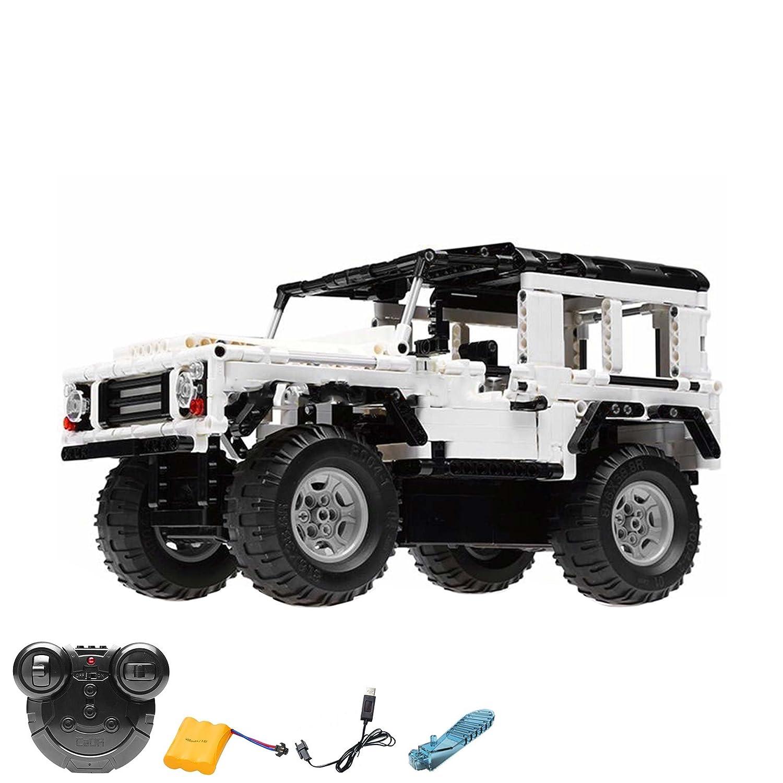 2.4GHz RC Steckbausatz Konstruktion DIY ferngesteuerter Jeep Truck aus Bausteinen zum Selberbauen Basteln, 2.4GHz Fernsteuerung, Block Building Fahrzeug,Auto,Car, Komplett-Set Inkl. Akku und Ladegerät HSP HIMOTO