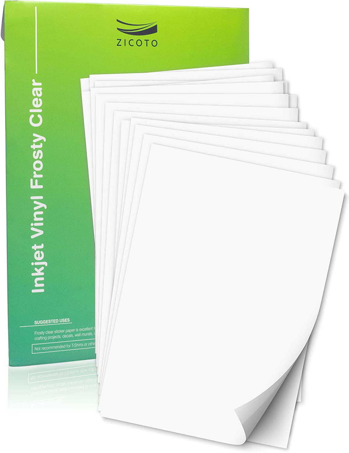 Premium Printable Vinyl Sticker Paper For Your Inkjet Printer 15 Clear Waterproof Sheets Dries Quickly And Holds Ink Beautifully