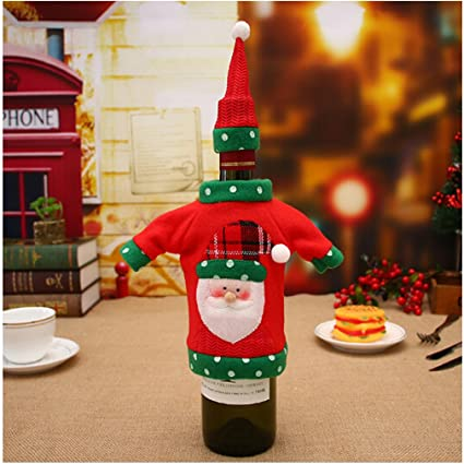 Yinew Christmas Wine Bottle Cover Bags Christmas Table Decoration