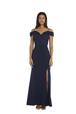 6a087ae940d57 Nightway Lace Off-The-Shoulder Gown at Amazon Women s Clothing store