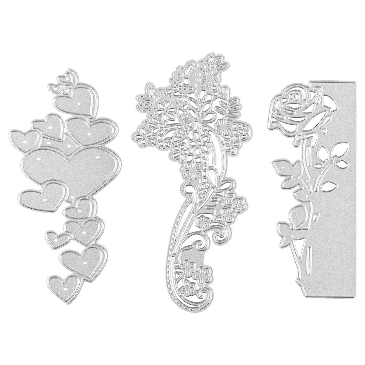3 Pack Metallic Cutting Die Embossing Dies Stencil Include Love, Rose Flower, Lace Shape for Scrapbooking Card Making DIY Crafts