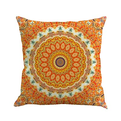 Bohemian Pillow Covers Red Floral Pillow Shams Boho Geometric Mandala Pattern Throw Pillow Square Pillowcase 18x18 Inches: Musical Instruments