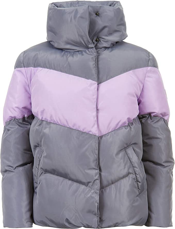 Calvin Klein Big Girls Colorblock Puffer Jacket, Quiet Shade, XL16