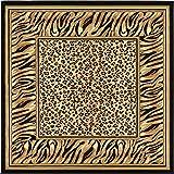 Unique Loom Wildlife Collection Tiger Leopard  Border Animal Light Brown Square Rug (6' x 6')