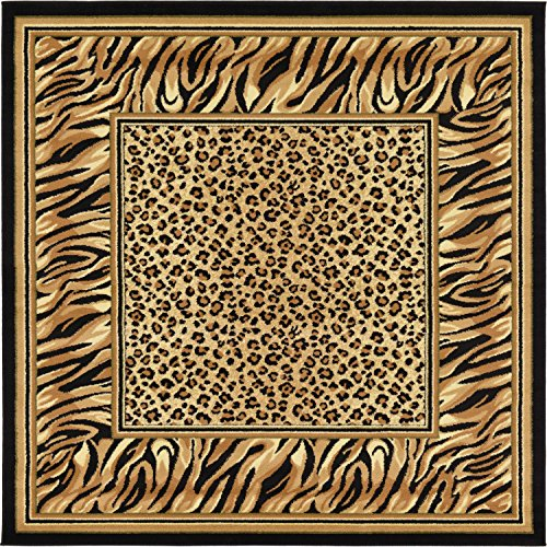 Unique Loom Wildlife Collection Tiger Leopard  Border Animal Light Brown Square Rug (6' x 6') by Unique Loom