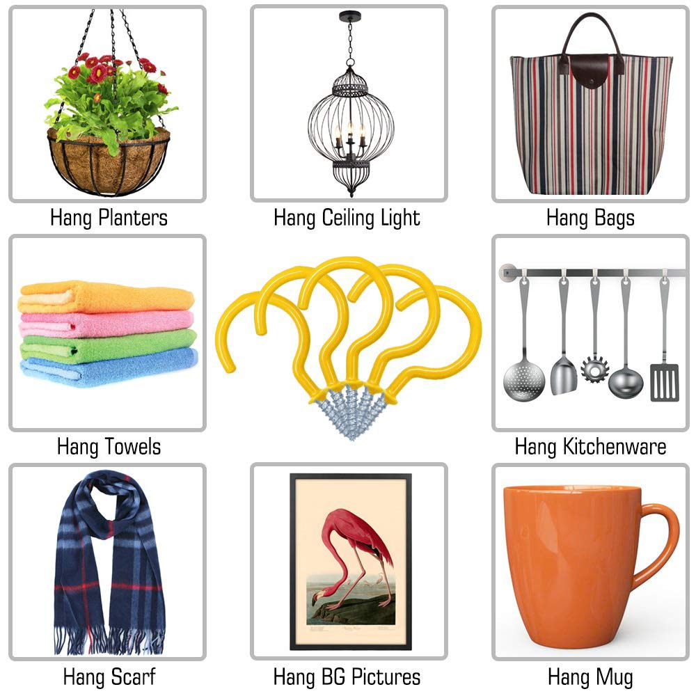 ECKJ Cup Hooks Mug Hooks 20PCS Ceiling Hooks Vinyl Coated Screw in Wall Hooks Plant Hooks Kitchen Hooks Great for Indoor Outdoor Use Color White 2.9 Inches