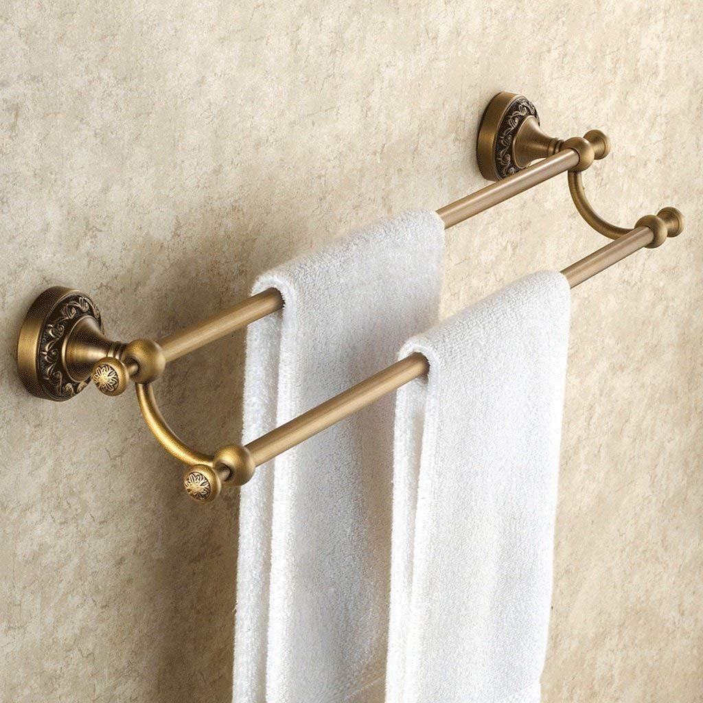 LUO Towel Rack Antique Towel Rack Full Copper Towel Bar Double Rod European Style Carved Bathroom Hardware Pendant Set