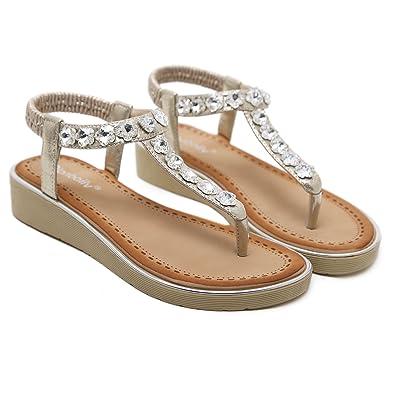 389f469e5f71a9 HOSUGA Women s Crystal Rhinestone Beaded Wedding Sandals Platform Wedge  Dress Sandals Thong Sandals
