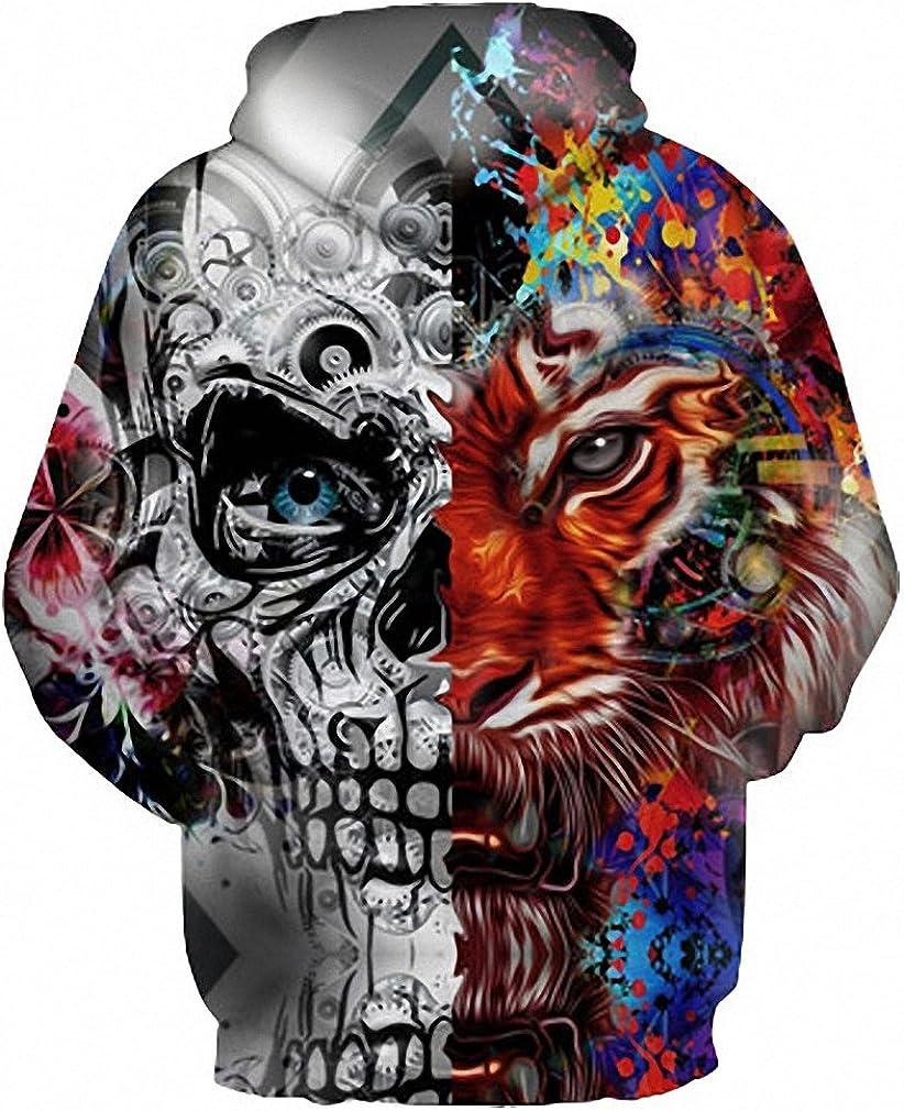 3D Hoodies Men Women 3D Print Skulls Tiger Thin Hooded Hoodies Tracksuit