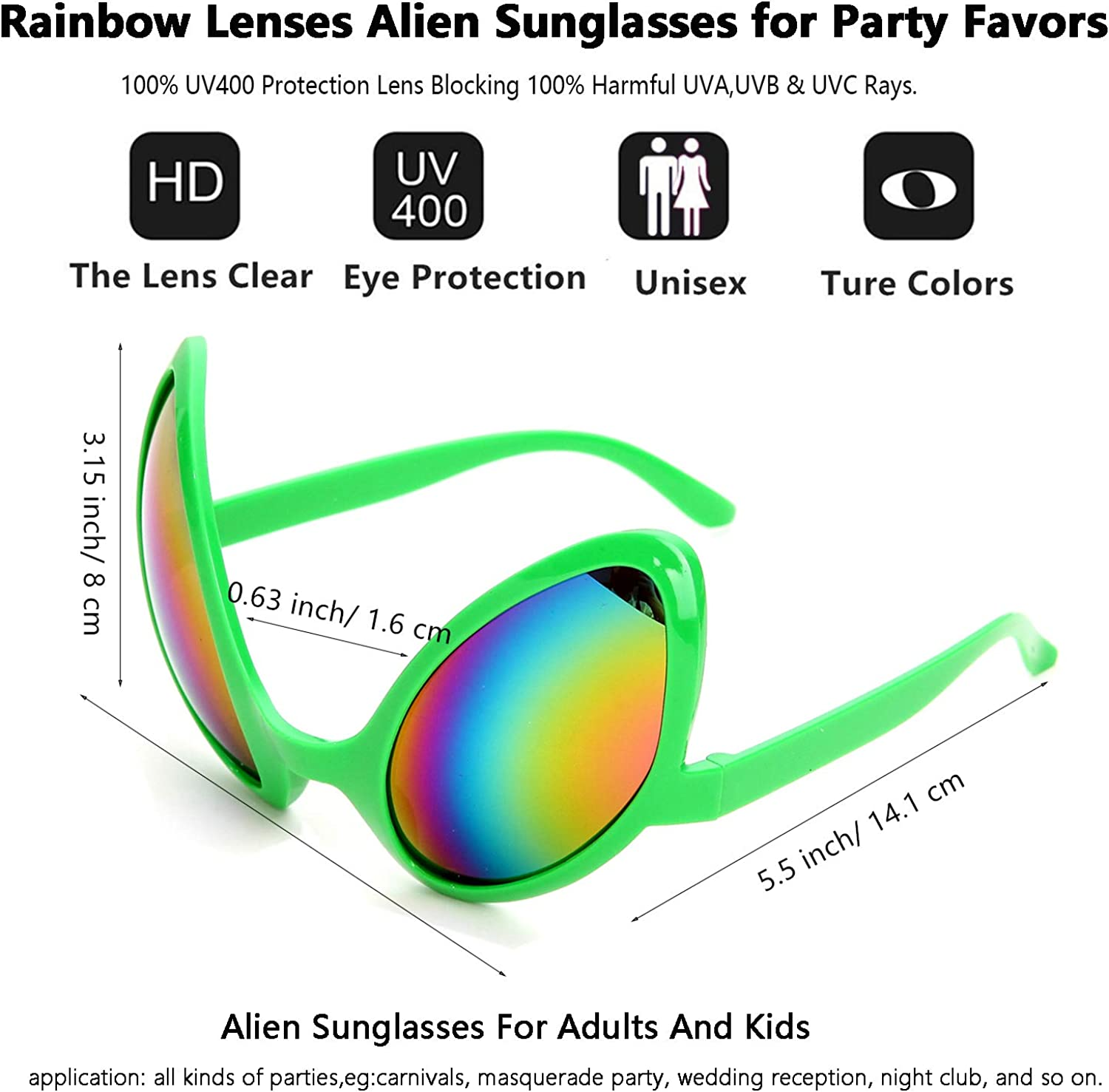 Assorted Alien Glasses Funny Novelty Sunglasses Shades Eye Wear for Party Favors,Decorations
