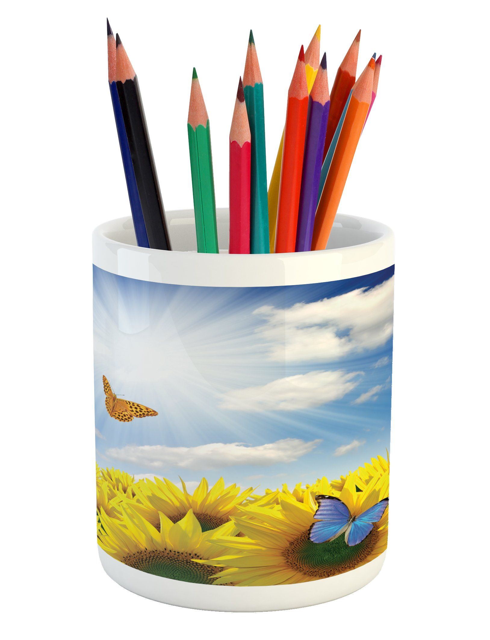 Lunarable Sunflower Pencil Pen Holder, Sunflowers in Meadow with Butterflies Floral Image Country Style Home Design, Printed Ceramic Pencil Pen Holder for Desk Office Accessory, Yellow Blue