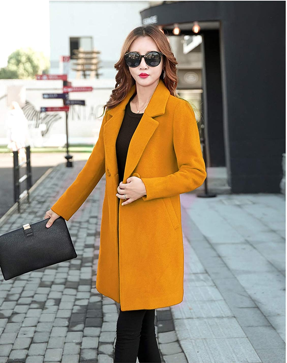 Jenkoon Womens Winter Outdoor Double Breasted Cotton Blend Pea Coat Jacket