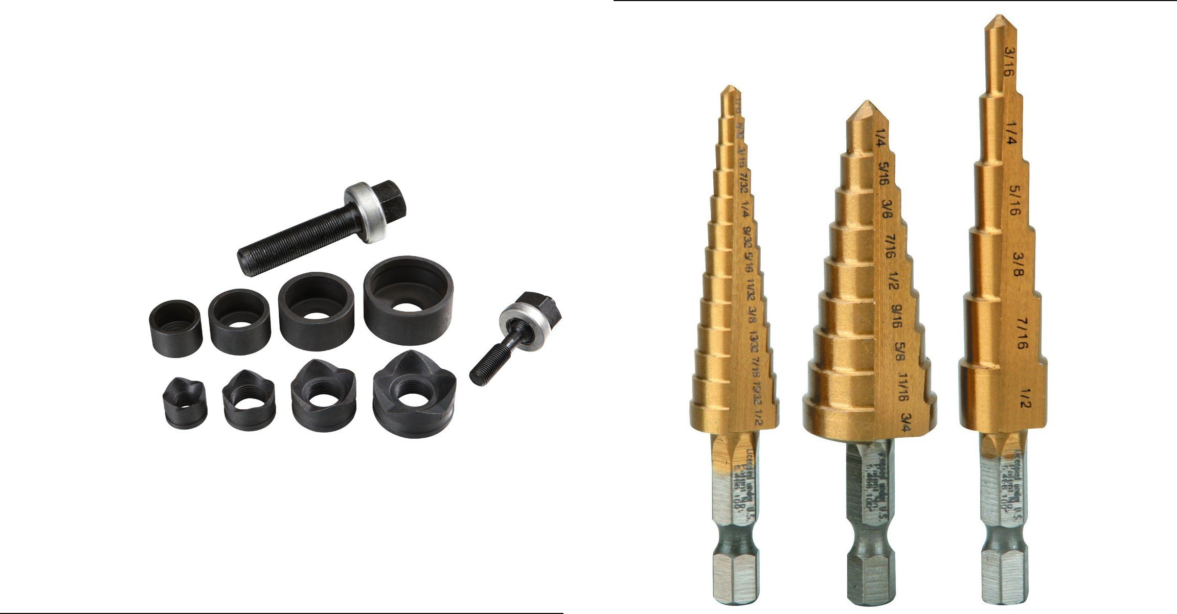 Manual Knockout Punch Kit with 3 Pc Titanium Nitride Coated High Speed Steel Step Drill Bit Set Bundle