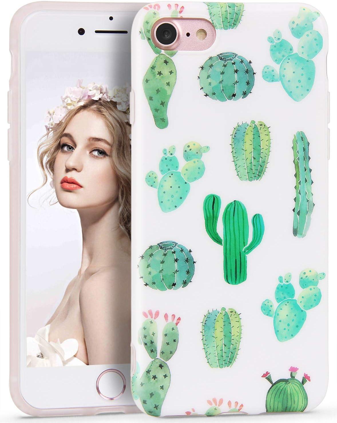 Imikoko Coque pour iPhone 6S/6 Motif floral Blanc Vert Cactus Femme Protection Mignon Mince Anti-Chocs Silicone TPU Souple Coque pour iPhone 6S/iPhone ...