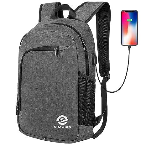 E-MANIS Mochila para portátiles, Mochila para Ordenador portatil 15.6 Pulgadas USB Mochila de