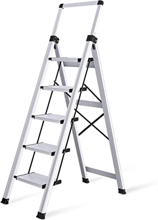 Basics Folding Step Ladder 5-Step Aluminum with Wide Pedal Silver and Black