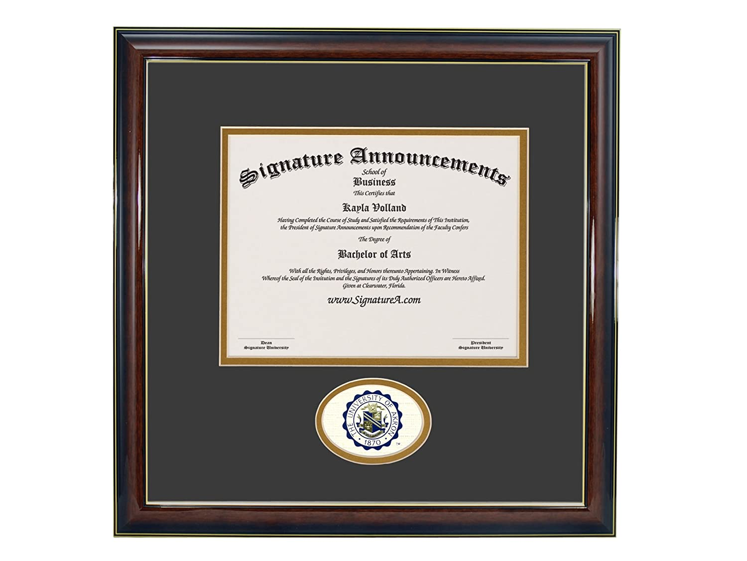 Signature Announcements University-of-Akron Doctorate Sculpted Foil Seal Graduation Diploma Frame 16 x 16 Gold Accent Gloss Mahogany