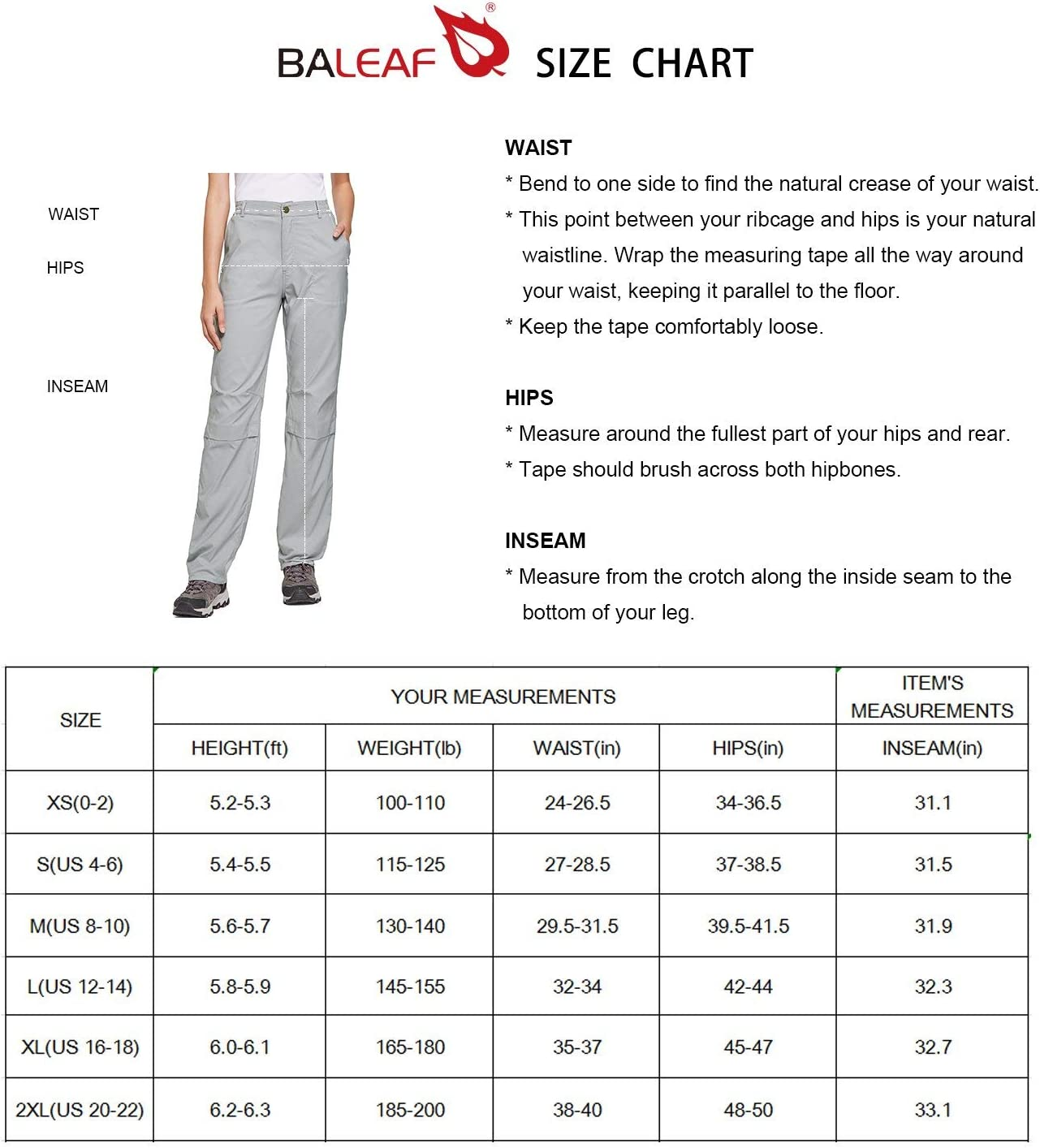 BALEAF Womens Hiking Roll Up Convertable Pants UPF 50 Stretch Outdoor Pants Water Resistant for Everyday Wear