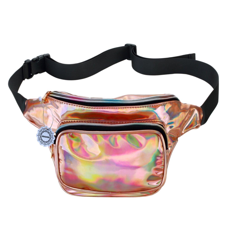 Shiny Neon Fanny Bag for Women Rave Festival Hologram Bum Travel Waist Pack (Champagne)