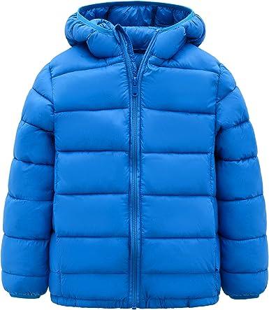 Boys Hooded Winter Coat Thermal Warm Windproof Outerwear Lightweight Winter Outwear Solid Jacket Blue 5-6T
