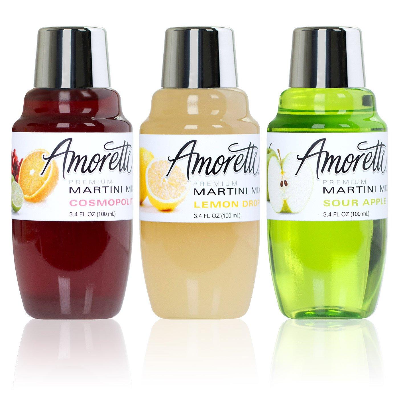Amoretti Premium Martini Cocktail Mix Classic Minis, 3.4 fl oz, 3-Count (Cosmopolitan, Lemon Drop and Sour Apple) by Amoretti