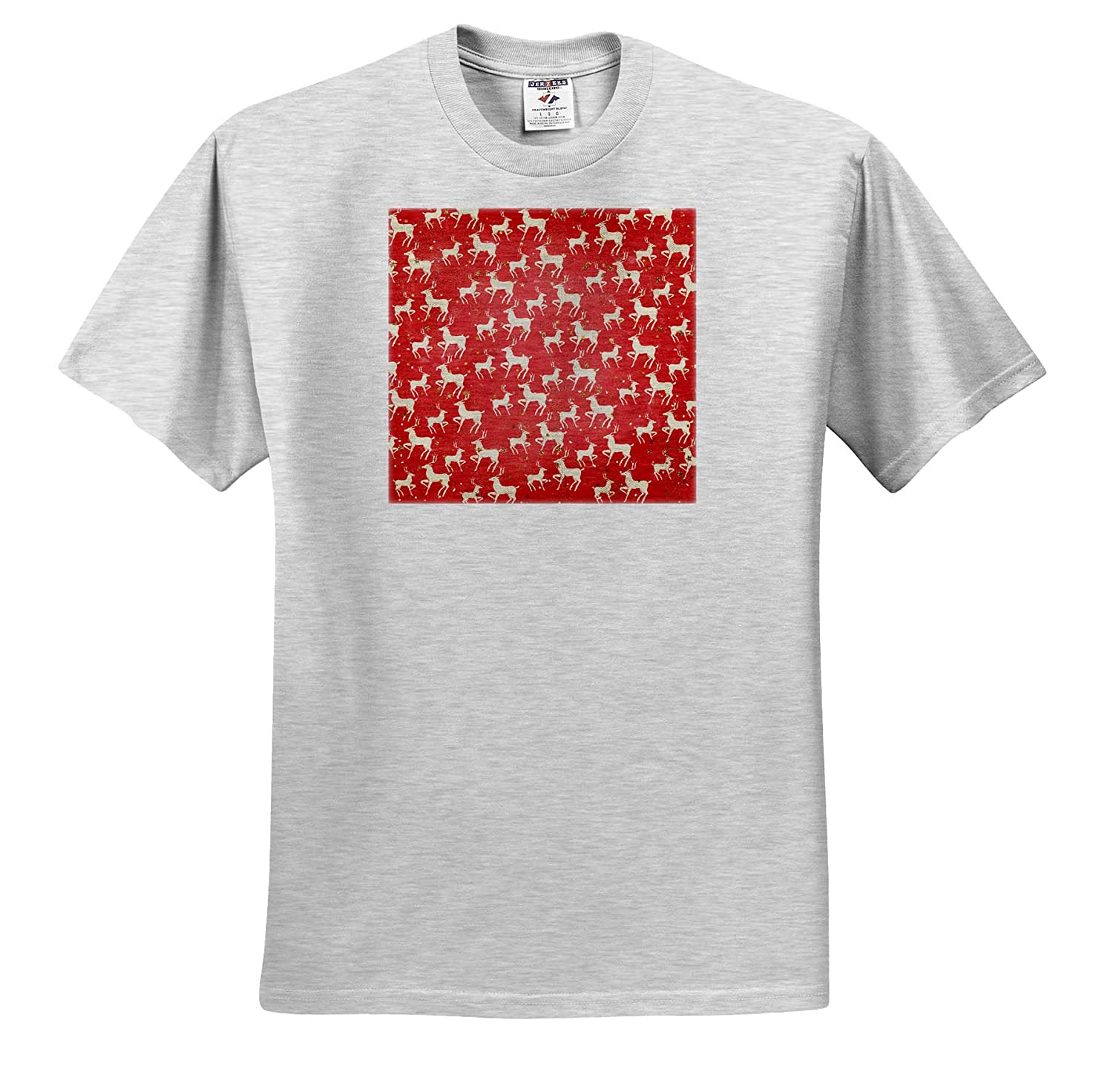 3dRose Anne Marie Baugh ts/_318554 Christmas Cute Reindeer and Image of Gold Stars Pattern Adult T-Shirt XL