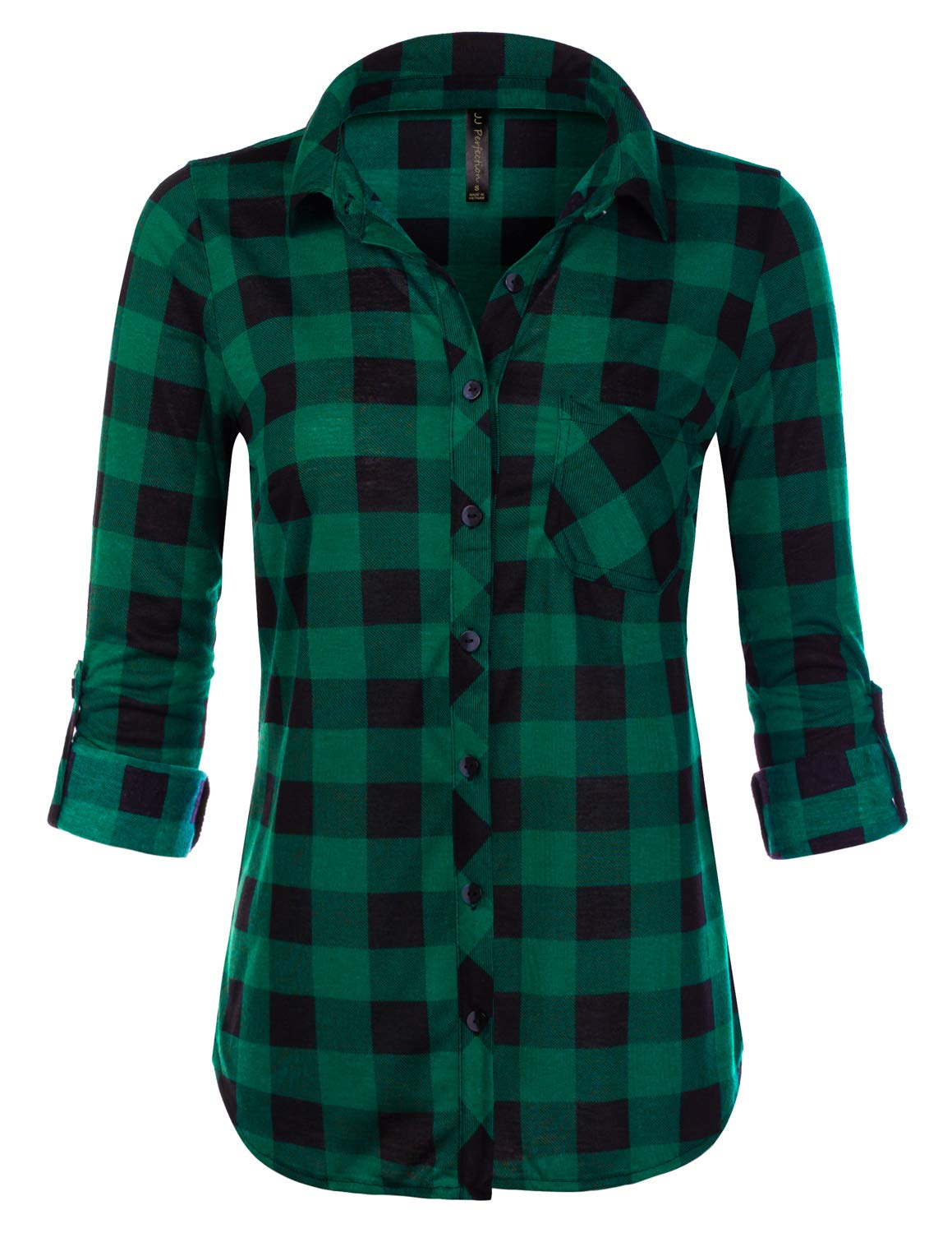 JJ Perfection Womens Long Sleeve Collared Button Down Plaid Flannel Shirt GREENBLACK L