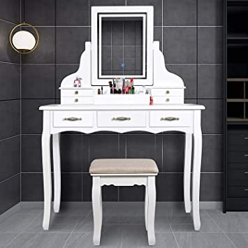 Amazon Com Enstver Led Vanity Table 7 Drawers Makeup Dressing Table With Cushioned Stool White Furniture Decor