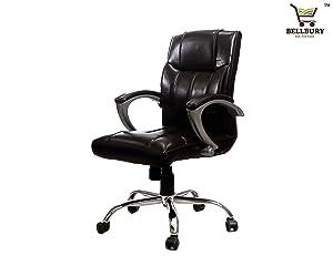 Bellbury Medium Back Office Chair/Revolving Chair (Brown Colour)