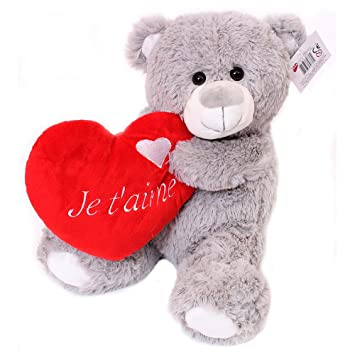 I Love Fancy Dress lh0001-fr suave San Valentín oso de peluche, color gris